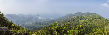 Panoramic Landscape view on Khao Ra mountain - the highest mountain hiking tourist attraction on Koh Phangan, island,Thailand