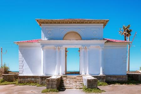 Abandoned railway station of Batumi along the black sea, locates in Giorgi Gabrichidze Seaside Park. Mtsvane Kontskhi (The Green Cape) in Batumi Botanical Garden near Batumi, Georgia. Banco de Imagens