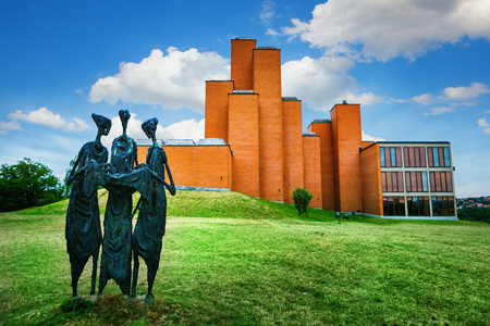 Kragujevac, Serbia - 17 July, 2016: The sculpture The Destiny tellers in front of Memorial museum and park 21 October in Kragujevac, Serbia. Deticated to victims of World War II, locates in Sumarice memorial park