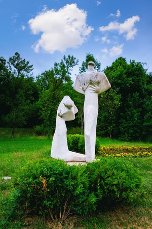 Kragujevac, Serbia - 17 July, 2016: The monument of Pain and Spite in Sumarice Memorial Park near Kragujevac in Serbia by sculptor Ante Grzetic