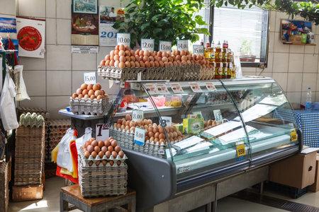 Belgrade, Serbia - 19 July, 2016: fresh eggs in the cortical tray the Serbian Zeleni Venac farmers market in Belgrade Editorial