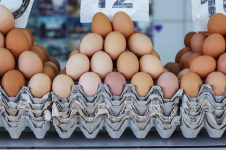 Belgrade, Serbia - 19 July, 2016: fresh eggs in the cortical tray the Serbian Zeleni Venac farmers market in Belgrade Stock Photo