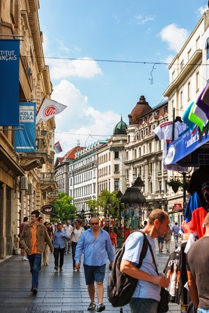 Belgrade, Serbia - 19 July, 2016: People walking at the most famous shopping street and one of the favorite destinations of tourists Knez Mihajlova in Belgrade. Pedistrian street 에디토리얼