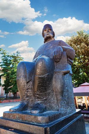 Kragujevac, Serbia - July 18, 2016: Downtown of Kragujevac - the biggest town of Sumadija area. Memorial statue Monument to Vuk Karadzic Editorial