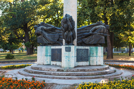 Kragujevac, Serbia - July 18, 2016: Downtown of Kragujevac - the biggest town of Sumadija area. Memorial statue monument to fallen Foresters of Sumadia in Lower park