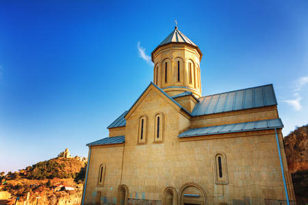 Scenic view of Church and bells on the territory of the ancient fortress Narikala, old Tbilisi, Georgia Stock Photo
