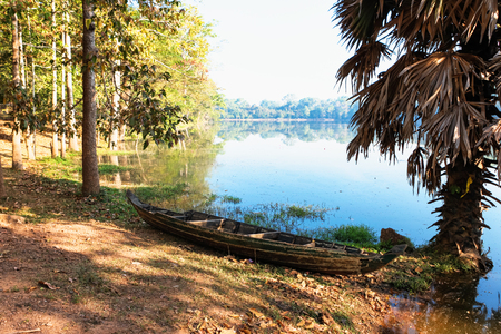 royal wooden boat for the king of Cambodia in the past. Angkor wat park Stock Photo