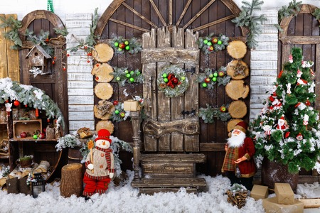 Christmas and New Year Decoration Over Wooden Background vintage