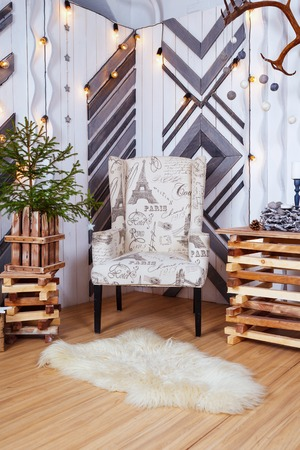 Christmas and New Year Decoration Over white Wooden Background vintage loft style Reklamní fotografie