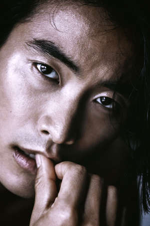 Asian Chinese Korean male model portrait shot in studio, crispy and sharp wet skin, fashion hi-end beauty magazine style concept