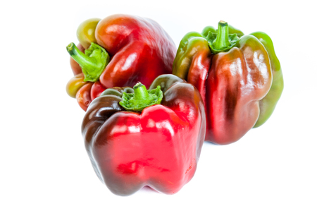 paprica: multicolored paprica bell pepper on white background.