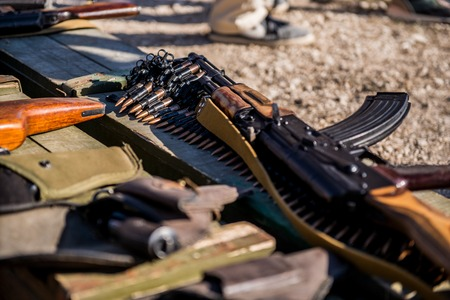 marksmanship: Ammunition and automatic handgun firearms ammo and grenades Stock Photo