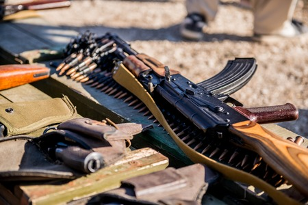 Ammunition and automatic handgun firearms ammo and grenades Stock Photo