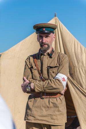 SEVASTOPOL, RUSSIA - SEPTEMBER 11, 2016: Man in uniform of World War II on Crimean Military festival