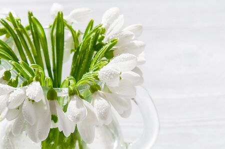 Bouquet snowdrops on wooden background. Spring flowers. Mothers Day, Valentines Day, Womens Day. Wedding bouquet. Copyspace. Stock Photo