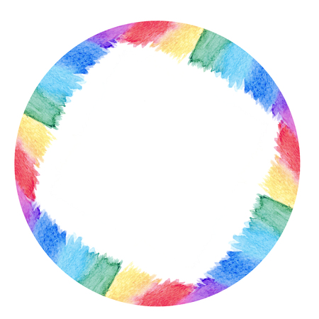 Abstract watercolor round frame rainbow seven colors background isolated. Stock Photo