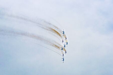 Sevastopol, Russia - May 9, 2014: Air show military aircraft. Russian Knights and Swifts