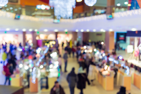 Abstract blur with bokeh and defocused shopping mall in department store