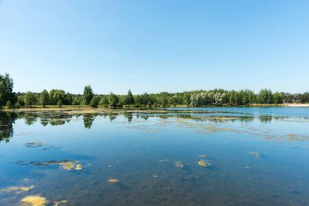 Blue lake in forest, Russian landscapes, beautiful nature. Archivio Fotografico - 127351425