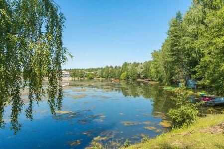 Blue lake in forest, Russian landscapes, beautiful nature. Archivio Fotografico - 126882634