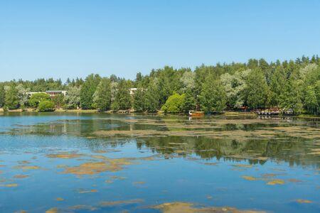 Blue lake in forest, Russian landscapes, beautiful nature. Archivio Fotografico - 126882665