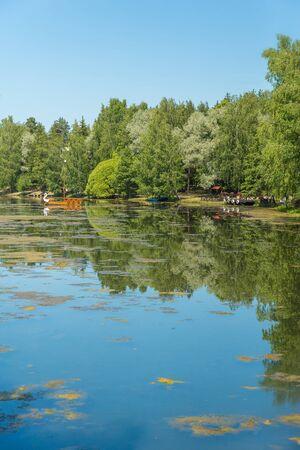 Blue lake in forest, Russian landscapes, beautiful nature. Archivio Fotografico - 126882736