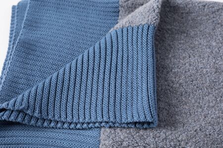 Grey and blue knitting wool texture Archivio Fotografico - 131820330