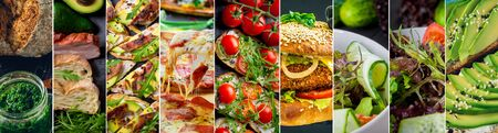 Collage of delicious food and fastfood close-up