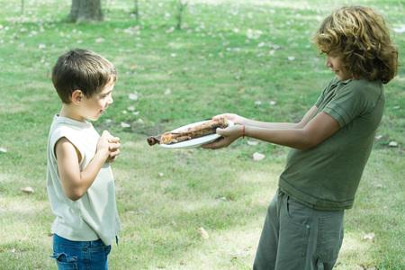 carnes: Boy handing friend plate of grilled meat