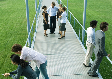 People standing in small groups on walkway, high angle view