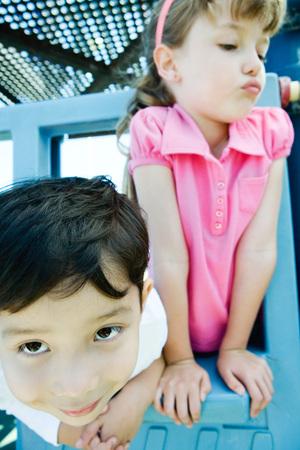 Children on playground equipment