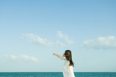 Woman catching clouds with butterfly net LANG_EVOIMAGES