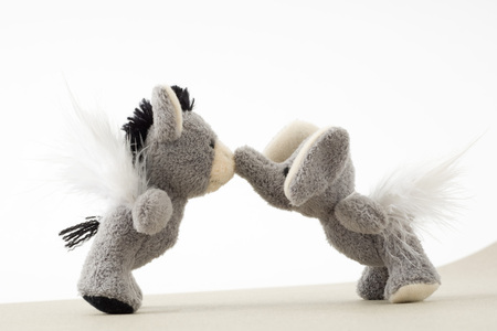 Stuffed toys face to face, touching noses LANG_EVOIMAGES