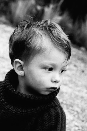 messed: Little boy, portrait, black and white