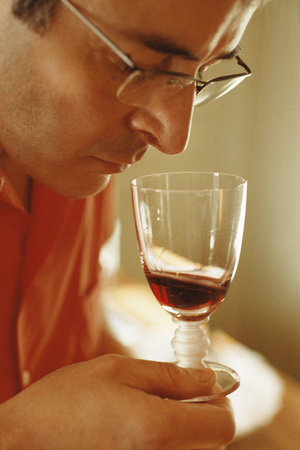 Man smelling red wine in wine glass
