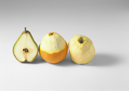 blanks: Fruit, in various states of being peeled or cut