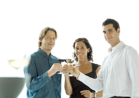 People making a toast with glasses of wine LANG_EVOIMAGES