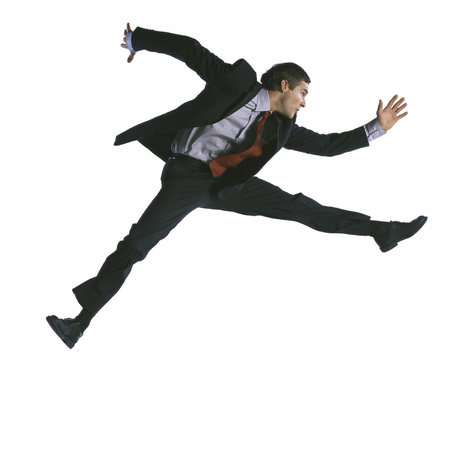 overcoming adversity: Man jumping