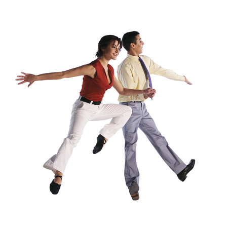 Man and woman jumping in different poses
