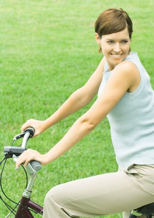 distractions: Woman on bike, smiling