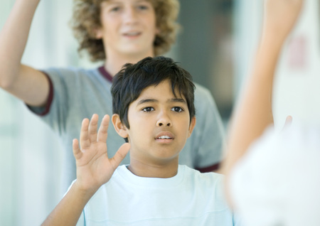 Preteen boys waving LANG_EVOIMAGES