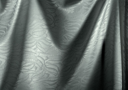 Folds in silver fabric with floral pattern, close-up, full frame LANG_EVOIMAGES