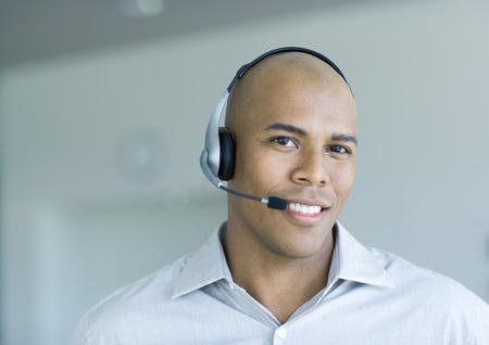 Man wearing headset, portrait