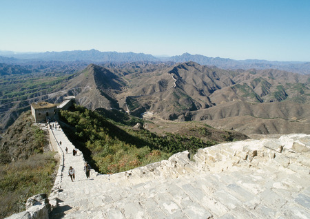 touristy: China, Hebei Province, Simatai, people walking along the Great Wall, high angle view