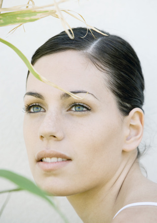 greased: Womans face, blades of grass in foreground LANG_EVOIMAGES