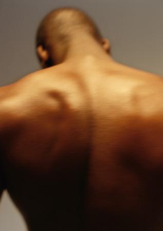 Mans bare back, close up