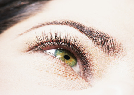 Womans green eye, low angle view, close up