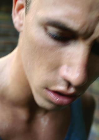 Mans face, close-up, blurred