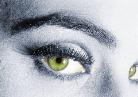Womans green eyes