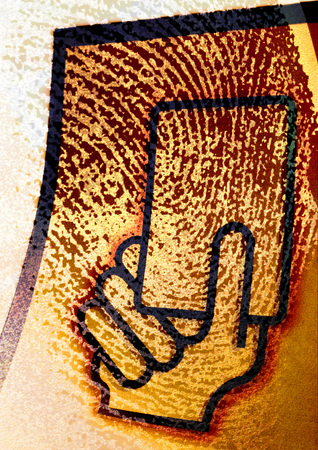 withdrawal: Extreme close-up of fingerprint, with hand holding card symbol, montage